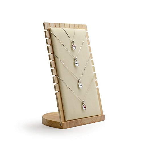 (Oirlv Solid Wood Jewelry Display Stand Necklace Showcase Holder Pendant,Long Chain Handing Organizer (13-bit Necklace Board Creamy White))