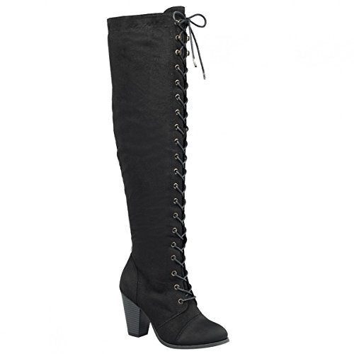 Forever Camila-47 Women's Chunky Heel Lace Up Over The Knee Brown High Riding Boots,Black Suede,7