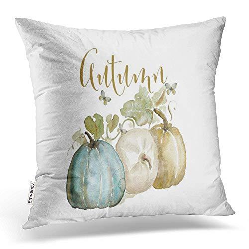 Emvency Throw Pillow Covers Vintage Popular Autumn Pumpkin Watercolor Halloween Thanksgiving Pillowcases Polyester 20 X 20 Inch Square with Hidden Zipper Home Sofa Cushion Decorative Pillowcase