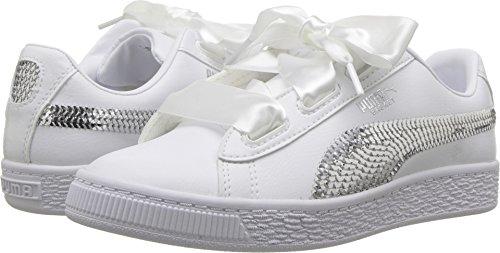Bling Bling Heart (PUMA Unisex Basket Heart Bling Kids Sneaker, White Silver, 12.5 M US Little)