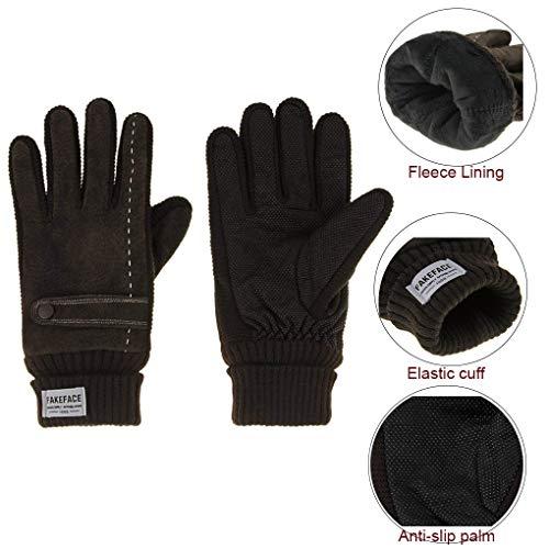 (Men's Winter Warm Gloves Thermal Gloves Thicken Premium Pigskin Welding Gloves Knitted Cuff Windproof Elastic Gloves for Outdoors Raw)