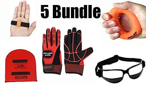 X-factor Glasses - Ball Hog Gloves 4 item Bundle | (Weighted) X - Factor BH Gloves, OFF HAND Shooting Aid, Hand Grip Strengthener and Dribble Glasses (M)