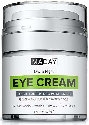 Eye Cream - Reduce Dark Circles, Puffiness & Under Eye Bags - Effective Anti-Wrinkles Treatment - Anti-Aging Eye Gel with Hyaluronic Acid, Gotu Kola Extract, Caffeine - Refreshing Eye Serum