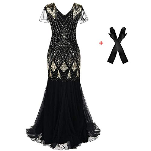 Plus Size Wear Evening Women - Women Evening Dress 1920s Flapper Cocktail Mermaid Plus Size Formal Gown with Gloves (XXL/US 18-20, Gold Black)