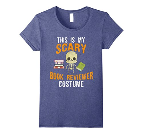 Book Costume The Office (Womens Funny Halloween Costume t shirt for Book Reviewer Small Heather Blue)