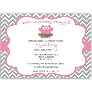 Owl Baby Shower Invitations, Chevron Stripes, Baby Girl, Pink, Gray, Nest