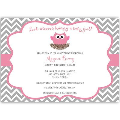 Owl Baby Shower Invitations, Chevron Stripes, Baby Girl, Pink, Gray, Nest, Hipster, Little, Hoot, Look Whooo, Personalized, Customized, 10 Printed Invites and Envelopes, Chevron Owl