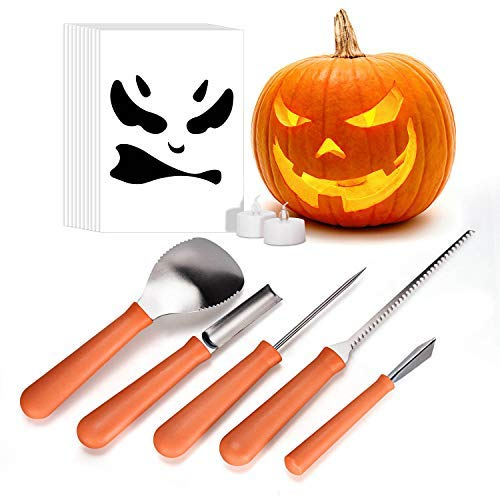 Pumpkin Carving Kit, iTrunk 5 Pieces Professional Stainless Steel Pumpkin Carving Tools, Premium Sculpting Tools with 10 Carving Stencils Perfect for Halloween Decoration]()