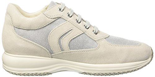 Geox White Greyc0856 C lt Happy off D Gris Para Zapatillas Mujer wv8wqF