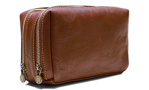 Floto Siena Travel Kit, Leather Toiletry Bag in Brown by Floto