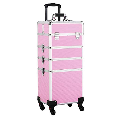Yaheetech Travel Makeup Train Case - Large Makeup Cosmetic Case Organizer 4 in 1 Pink Rolling Portable Storage Case with Dividers Cosmetics Artist Makeup Brushes Wheels