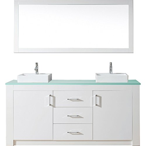 Virtu Usa Kd 90072 G Wh Tavian 72  Double Bathroom Vanity With Aqua Tempered Glass Top And Square Sink With Polished Chrome Faucet And Mirror  White
