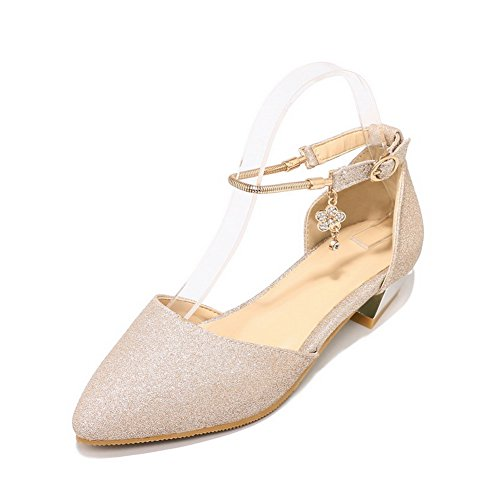 BalaMasa Closed Low Fabric Closure Gold Cold Toe Heel Sandals Sandals Womens No ASL04682 Lining 11qZf