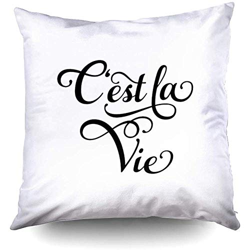 Halloween Cest La Vie French Word Art Decorative Throw Pillow Case 18X18 Inch,Home Decoration Pillowcase Zippered Pillow Covers Cushion Cover with Words for Book Lover Worm Sofa Couch