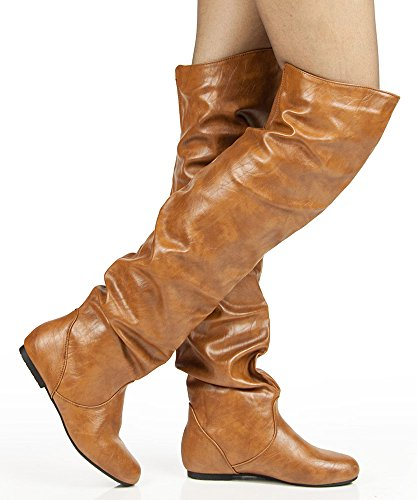 HI Shaft FASHION Boots Tan Slouchy Over Heel The Flat Low Knee RF Trend ROOM Pu OF TRxwEEqIz