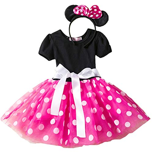 Toddler Girls Tutu Princess Dress - Vintage Polka Dot Party Wedding Dress Fancy Dress Skirt + Headband (Pink, 100cm/2-3Y) ()