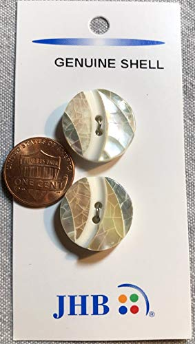 Jhb Buttons - Two JHB Natural Shell On Plastic Base Sew-Through Buttons 1 Card 3/4
