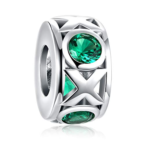 Forever Queen XO Charm Fit Pandora Charm Bracelet Necklace, 925 Sterling Silver Hugs Kisses XOXO Bead Charm Green CZ Cubic Zirconia Wedding, Valentine's Day, Christmas FQ00012