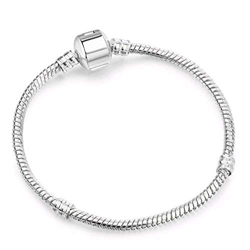 Shallow Time Silver Plated Snake Chain DIY Charm Bracelet & Bangle DIY Fine Bracelet,Sn003,19Cm