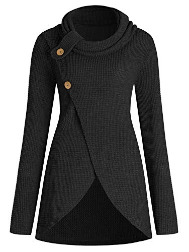 KCatsy Pleated Collar Large Size Front Stitch Sweater Black ()