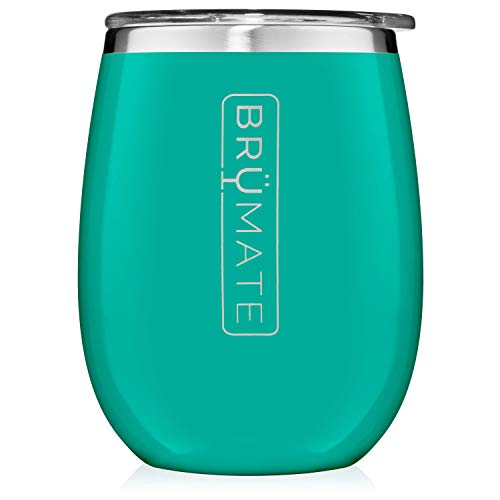 BrüMate Uncork'd XL 14oz Wine Glass Tumbler With Splash-proof Lid - Made With Vacuum Insulated Stainless Steel (Peacock)