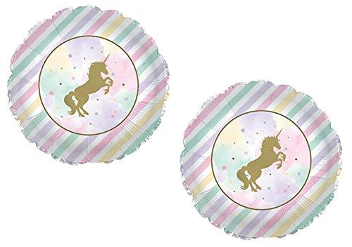 Gold Unicorn Sparkle Shimmery Pastel Striped Stars (2) Foil Mylar Balloons