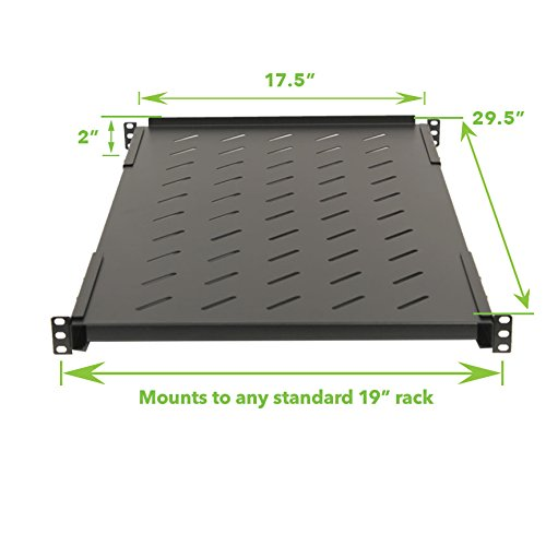 Navepoint Fixed Rack Vented Server Shelf 1U 19'' 4 post Rack Mount Adjustable from 17 - 41''
