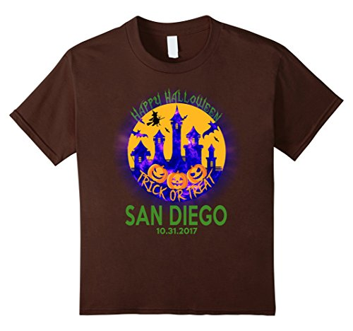 Kids Happy Halloween Trick Or Treat San Diego California T Shirt 8 Brown
