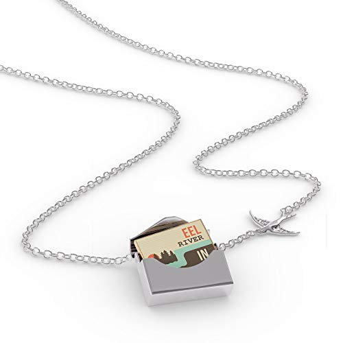 NEONBLOND Locket Necklace USA Rivers EEL River - Indiana in a Silver Envelope