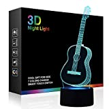 3D Illusion Night Light, Modern LED Table Desk Lamps, Guitar Nightlights, Tiscen 7 Colors Changing Touch Control USB Charge Lighting Bedroom Home Decorative, Best Gift Ideas for Music Lovers, Kids, Ad