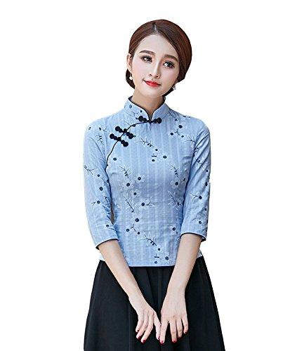 shirt Chanvre Chinois 4 Traditionnel ACVIP Tang Bleu Motif en T 3 Femme Fleur Manche de Coton de Veste Blouse q4nnxpX