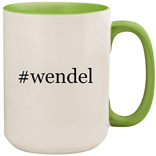 #wendel - 15oz Ceramic Colored Inside and Handle Coffee Mug Cup, Light Green ()