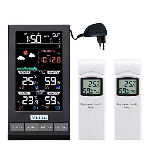 VLIKE Estacion meteorologica con 2PCS sensores Estacion meteorologica al Aire Libre Radio Control Reloj Circulo Pantalla Temperatura y Humedad