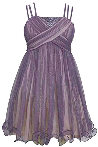 [Bonnie Jean Big Girls Grey Strap Criss Cross Sparkle Tulle Christmas Dress 10] (Christmas Dresses For Tweens)