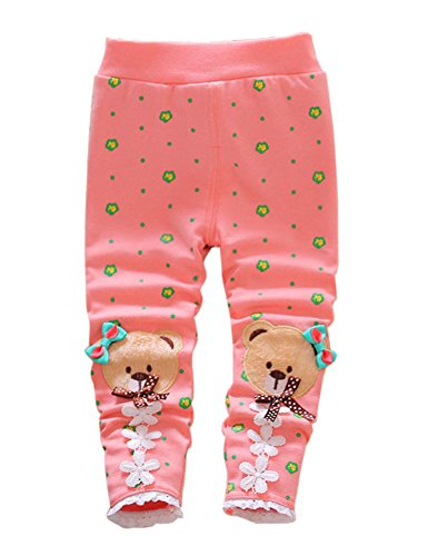 XWDA Baby Girls Cute Bear Fleece Lined Pants (10-12 Months, Pink)
