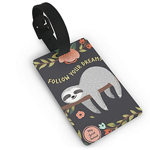 XINLLPO Follow Your Dreams Sloth My Spirit Animal Luggage Tags for Kids Women Girls Adult Travel Baggage Suitcase Bag Lables Business Card Holder - School Spirit Tags