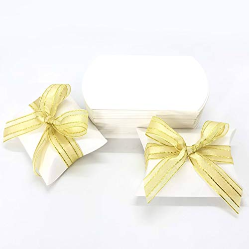 White Wedding Party Favors Boxes - Candy Treat Boxes Small Gift Boxes Bridal Shower Baby Shower Birthday Bachelorette Party Favors Supplies Boxes, 50pc