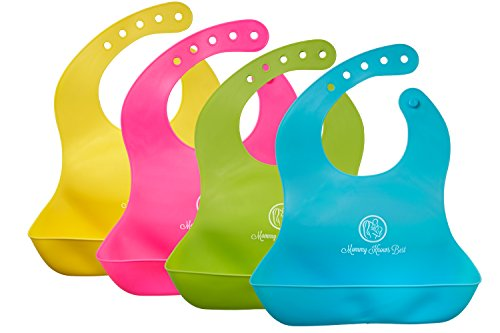 Mommy Knows Best Waterproof Comfortable Soft Baby Bib with Large Pockets, Easily Wipes Clean Silicone Feeding Bibs for Toddlers, Set of Four (Blue, Green, Pink, and Yellow)