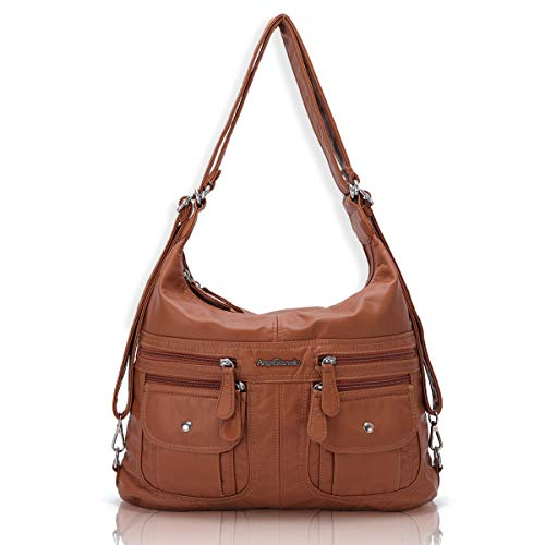 Angel Barcelo Women Multifunctional Soft Leather Handbag Purses Shoulder Hobo Backpack Crossbody Zipper Bag with Pocket Brown