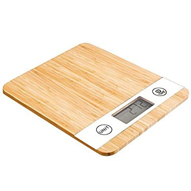 Smart Weigh Bamboo Digital Kitchen Scale with Tare Feature and Large LCD Display, 11lb/5kg Capacity