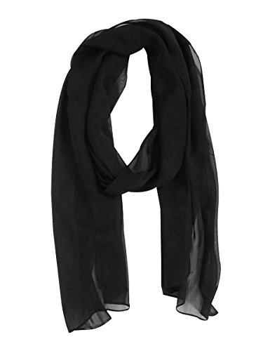 - Adrianna Papell Womens Chiffon Decorative Stole Scarf Black O/S