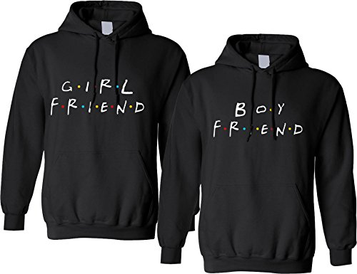Allntrends Couple Hoodie Girlfriend Boyfriend Love Friends Gift Matching Outfits (Womens S Mens M, Black)