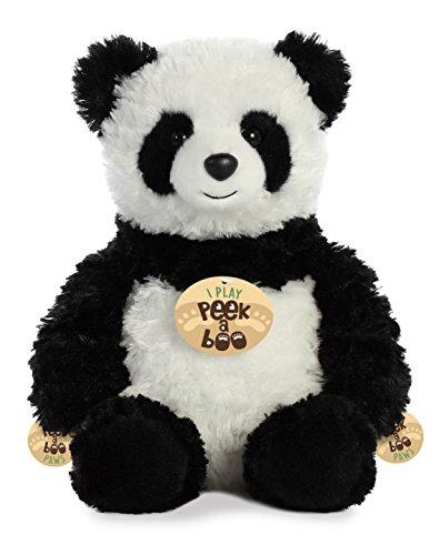 Aurora Peek A Boo- Panda Plush, White/Black