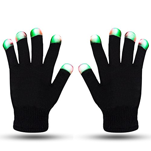LED Gloves ZOETOUCH Glowing Gloves Flashing Gloves Fingertip Light Gloves For Clubbing,Raves,Disco,Dubstep Party,Birthday,Halloween,Christmas and Other Festivals-6 Modes(Black)