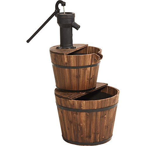 Old-Fashioned 2 Tier Wooden Barrel Fountain
