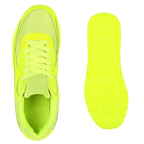 Unisex Laufschuhe Damen Herren Sportschuhe Neon Blumen Metallic Leder-Optik Schuhe Animal Print Sneakers Runners Profilsohle Flandell Neongelb