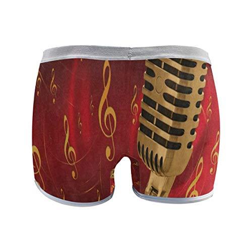 (SHNUFHBD Women's Regular Plus Size Underwear,Microphone Music Note Stretch Boxer Briefs Boyshort Panties for Girls L)