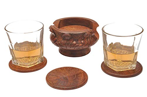 - IndiaBigShop Wooden Handmade Matka Shaped Carved Set of 6 Coasters with Holder for Tea Coffee Beer Glass Table Dining Coaster Table Dining Decor