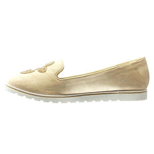 Angkorly - Zapatillas de Moda Mocasines slip-on suela de zapatillas mujer bordado joyas perla Talón Plataforma 2 CM - Rosa
