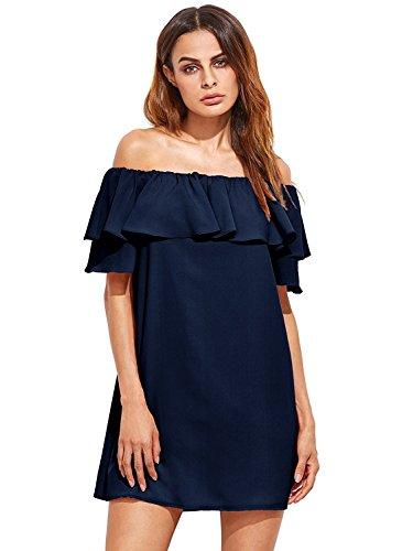 Milumia Women's Off Shoulder Ruffles Shift Loose Mini Dress (X-Large, Navy)
